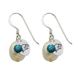 New Hampshire Wildcats Color and Freshwater Pearl Earrings