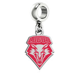 New Mexico Lobos Silver Logo and School Color Drop Charm