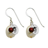 New Mexico State Aggies Color and Freshwater Pearl Earrings