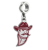 New Mexico State Aggies Silver Logo and School Color Drop Charm