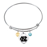 North Carolina Tar Heels Sterling Silver Bangle Bracelet