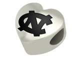 North Carolina Tar Heels Heart Bead Fits European Style Bracelets