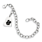 North Carolina Tar Heels Stainless Heart Bracelet
