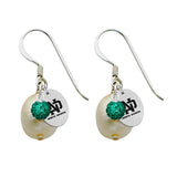 North Dakota Fighting Hawks Color and Freshwater Pearl Earrings