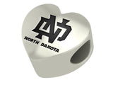 North Dakota Fighting Hawks Heart Bead Fits European Style Charm Bracelets