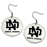 North Dakota Fighting Hawks Stainless Steel Disc Earrings