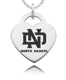 North Dakota Fighting Hawks Sterling Silver Heart Charm