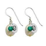 North Dakota State Bison Color and Freshwater Pearl Earrings