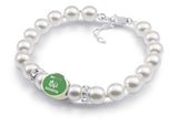 North Dakota Fighting Hawks White Pearl Bracelet