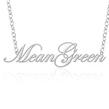 North Texas Mean Green Sterling Silver Cutout Script Necklace