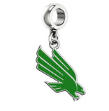 North Texas Mean Green Eagles Silver Logo and School Color Drop Charm