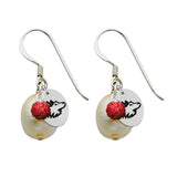 Northern Illinois Huskies Color and Freshwater Pearl Earrings