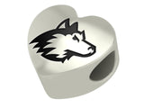 Northern Illinois Huskies Heart Bead Fits European Style Bracelets