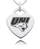 Northern Iowa Panthers Sterling Silver Heart Charm