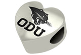 Old Dominion ODU Monarchs Heart Bead Fits European Style Charm Bracelets