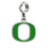 Oregon Ducks Silver Logo and School Color Drop Charm