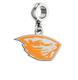 Oregon State Beavers Silver Logo and School Color Drop Charm