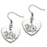 South Carolina Gamecocks Heart Drop Earrings