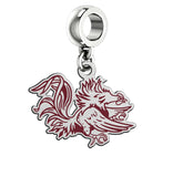 South Carolina Gamecocks Silver Logo and School Color Drop Charm