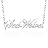 Stony Book Seawolves Sterling Silver Cutout Script Necklace