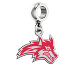 Stony Brook Seawolves Silver Logo and School Color Drop Charm