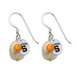 Syracuse Orange Color and Freshwater Pearl Earrings