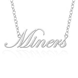 Texas El Paso Miners Sterling Silver Cutout Script Necklace