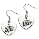 Texas El Paso Miners Heart Drop Earrings