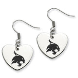 Texas State Bobcats Heart Drop Earrings