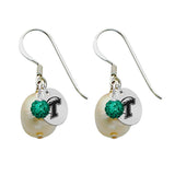 Tulane Green Wave Color and Freshwater Pearl Earrings