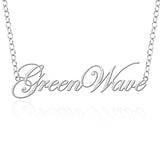 Tulane Green Wave Sterling Silver Cutout Script Necklace