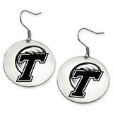Tulane Green Wave Stainless Steel Disc Earrings