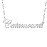 Vermont Catamounts Sterling Silver Cutout Script Necklace
