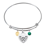 Wayne State Warriors Sterling Silver Bangle Bracelet