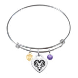 West Chester Golden Rams Sterling Silver Bangle Bracelet