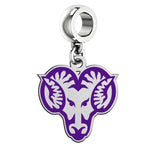 West Chester Golden Rams Silver Logo and School Color Drop Charm