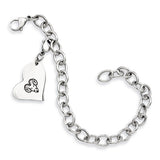 West Chester Rams Stainless Heart Bracelet