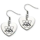 Western Michigan Broncos Heart Drop Earrings