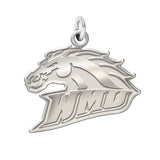 Western Michigan Broncos Sterling Silver Natural Finish Charm