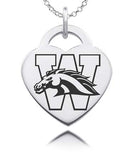 Western Michigan Sterling Silver Heart Charm