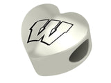 Wisconsin Badgers Heart Bead Fits European Style Bracelets