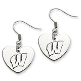 Wisconsin Badgers Heart Drop Earrings