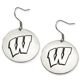 Wisconsin Badgers Stainless Steel Disc Earrings