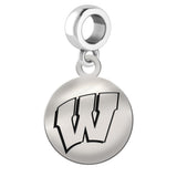Wisconsin Badgers Round Drop Charm