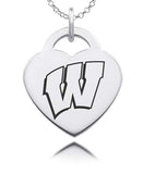 Wisconsin Badgers Sterling Silver Heart Charm