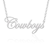 Wyoming Cowboys Sterling Silver Cutout Script Necklace