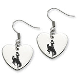 Wyoming Cowboys Heart Drop Earrings