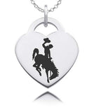 Wyoming Cowboys Sterling Silver Heart Charm