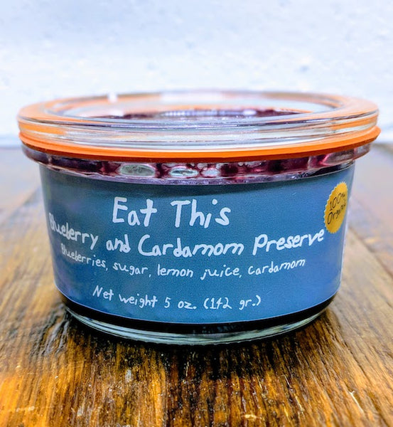 Jar of Eat This Blueberry Cardamom Preserves