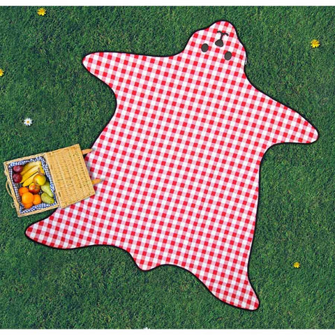 Bear Skin Rub Shaped Gingham Picnic Blanket